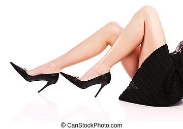 calcanhares altos, pernas, femininas