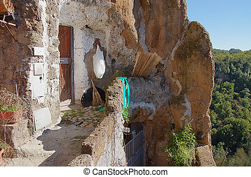 Calcata ancient Village in Italy - Cave house in Calcata,...
