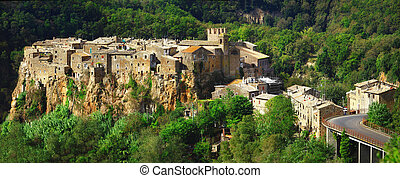 Calcata, Lazio. Italy - medieval hill top village Calcata