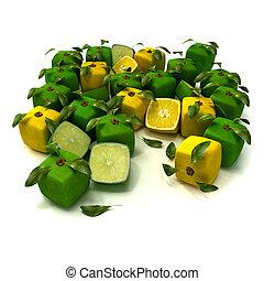 calce, limone, fondo, cubico