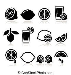 calce, limone, set, icone