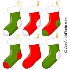 calcetín, navidad, caricatura, colorido, conjunto