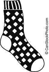 calcetín, simple, icono, estilo, algodón