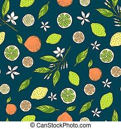 calci, agrume, modello, seamless, giallo, limoni, amaro, arance