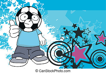 calcio, background3, cartone animato, capretto
