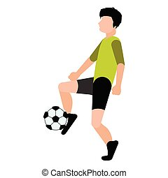 calcio, bambini giocando, icona, isolato