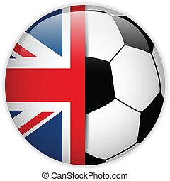 calcio, bandiera, palla, fondo, regno unito