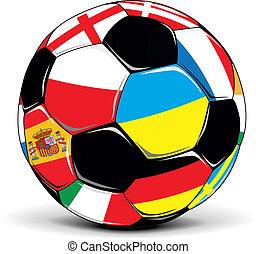 calcio, bandiere, palla