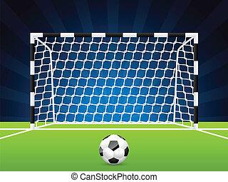 calcio, cancello, palla, rete