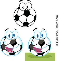 calcio, carattere, palla, collezione