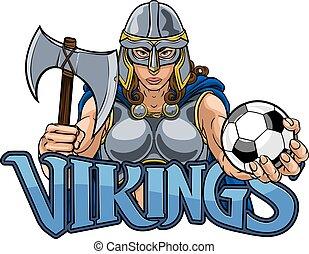 calcio, cavaliere, viking, celtico, trojan, donna, guerriero