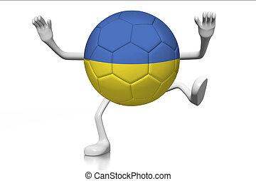 calcio, concetto, cartone animato, palla