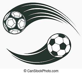 calcio, elementi, segno., football, dinamico, vettore, spostamento, swoosh, sport