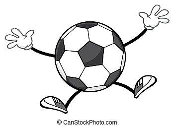 calcio, faceless, palla, saltare