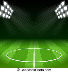 calcio, fondo, con, luminoso, luci punto