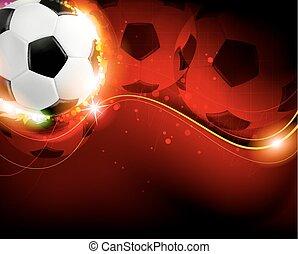 calcio, fondo, palla rossa