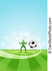 calcio, fondo, portiere, palla