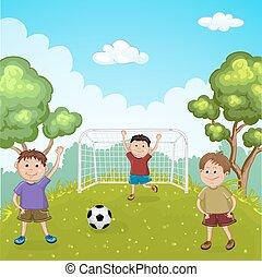 calcio, gioco, bambini, fuori