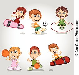 calcio, gioco, skateboard, bambini