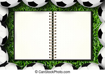 calcio, incorniciatura, quaderno