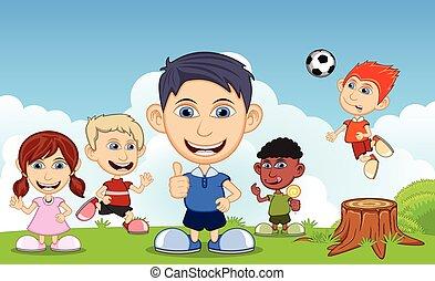 calcio, mangiare, bambini, ghiaccio, gioco