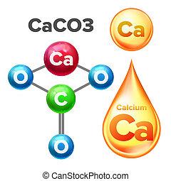 calcio, molecular, caco3, estructura, carbonato