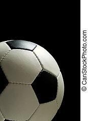 calcio, o, football, su, nero