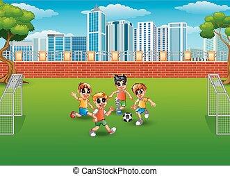 calcio, parco, gioco, bambini