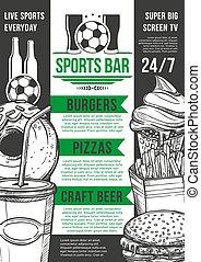 calcio, sbarra, menu, football, pub, birra, vettore, sport