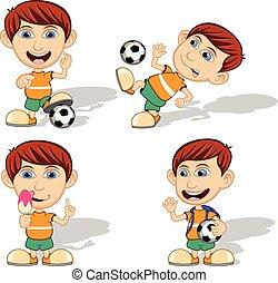 calcio, set, bambini giocando