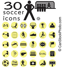 calcio, set, icone