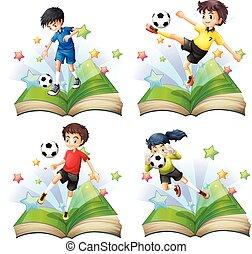 calcio, set, libro