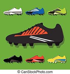 calcio, set, scarpe, colorito, icone