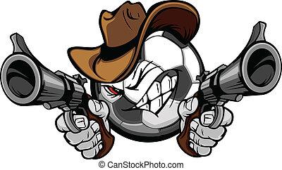 calcio, shootout, cartone animato, cowboy