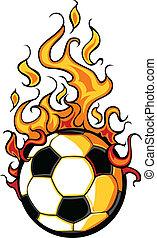 calcio, vettore, fiammeggiante, palla, cartone animato