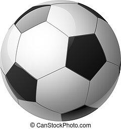 calcio, vettore, isolato, palla