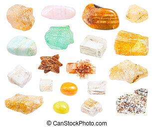calcite, set, isolato, gemstones, bianco, vario