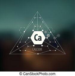 Calcium. Abstract drawing in modern style. Polygonal element...