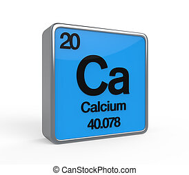 Calcium Element Periodic Table isolated on white background. 3D render