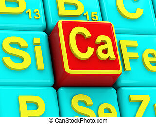 Calcium on background vitamins and minerals