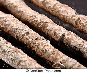 Calcium scum - Macro of calcium scum on electrical heater