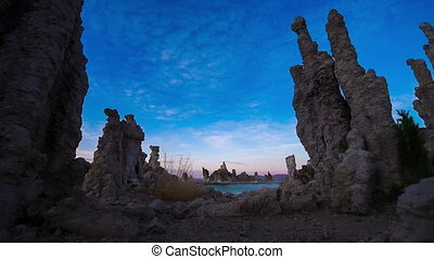 Calcium Spires at Mono Lake tracking forward - Tufa Towers...