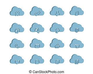 calcolare, 3d, nuvola, icone