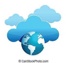 calcolare, globo, nuvola, illustrazione