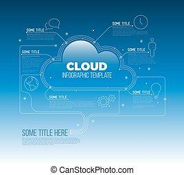 calcolare, magazzino, -, infographic, sagoma, nuvola
