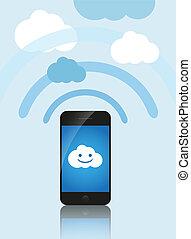 calcolare, mobile, concept., telefono, server., contatto, marche, nuvola