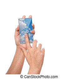 calcolare, mobile, schermo, mano, telefono, tocco, presa,...