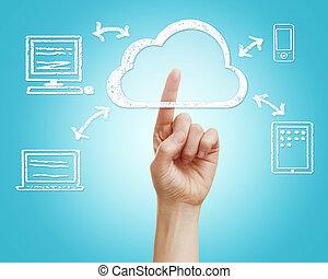 calcolare, nuvola, concetto