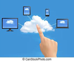 calcolare, nuvola, fondo, vettore, mano., illustration., concetto