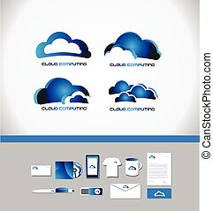 calcolare, nuvola, logotipo, tecnologia